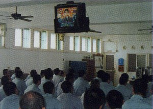 We have TV's and the broadcasting system all around the Detention Center and though these media we arrange educational programs for them.Every workshop has its own TV, karaoke and video player for their entertainment.